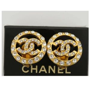 💯AUTH CHANEL VINTAGE RHINESTONE  ROUND EARRINGS